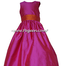 Shock and mango silk Flower Girl Dress -  Style 398