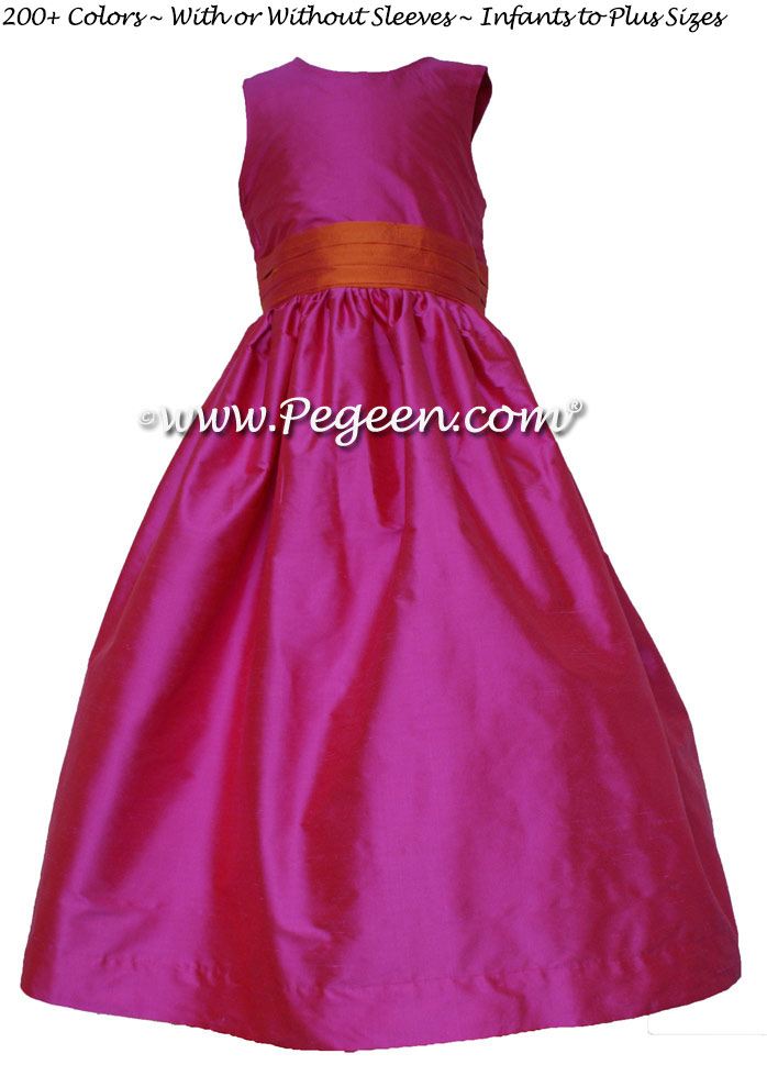 Shock and mango silk flower girl dresses