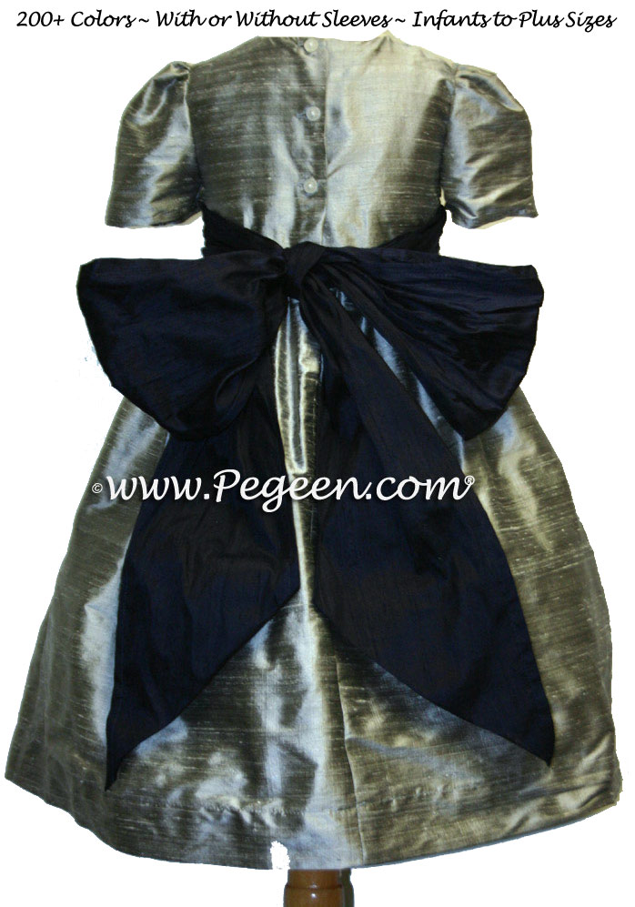 silver grey navy blue and Ivory Flower girl dresses