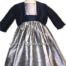 SILVER GRAY AND NAVY Flower Girl Dresses