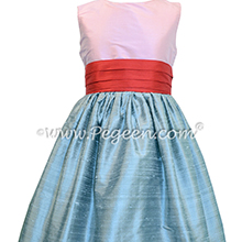 Bubblegum Pink and Silver Gray junior bridesmaid dress style 398 by Pegeen