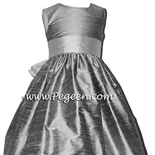 Bisque and Silver Gray custom silk flower girl dresses Style 398