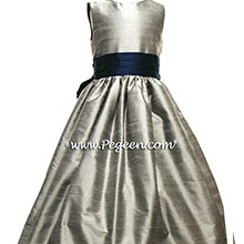 MEDIUM GRAY AND MARINE BLUE (NAVY) FLOWER GIRL DRESS Style 398 by Pegeen