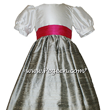CUSTOM SILK PUFF SLEEVE Flower Girl Dresses IN NEW IVORY SILVER GRAY AND CERISE PINK style 398
