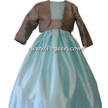 Tiffany blue ( POND ) and Silver Gray sash flower girl dresses style 398