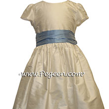 IVORY AND BLUE flower girl dresses