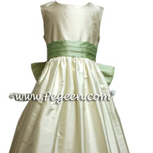 ivory and spring green silk flower girl dresses