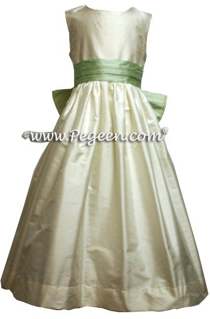 Spring Green Silk Flower Girl Dresses