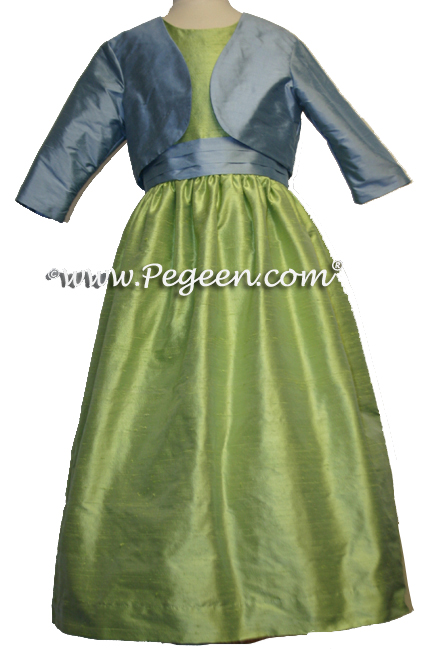Powder blue and sprite green silk junior bridesmaids bolero jacket