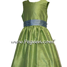 sprite green and blue flower girl dresses
