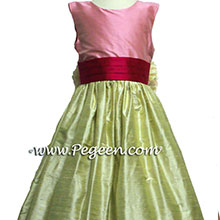 Bubble Gum Pink, Summer Green, And Raspberry Custom Silk Flower Girl Dresses Style 398