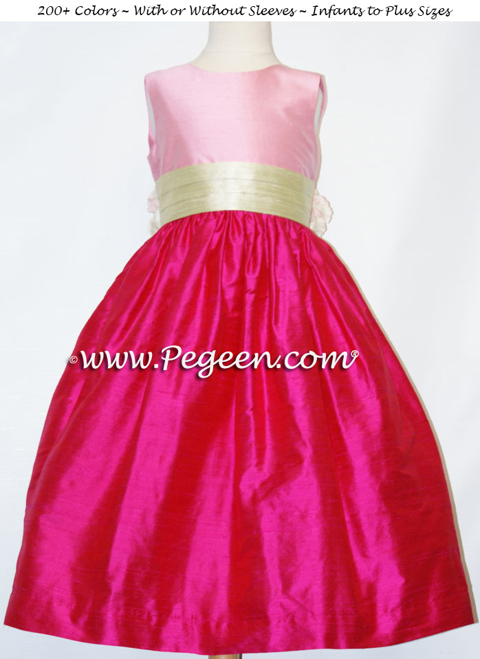 SUMMER GREEN, RASPBERRY AND BUBBLEGUM PINK silk FLOWER GIRL DRESSES
