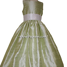 Antique White and Spring Green Silk flower girl dresses Style 398 by Pegeen
