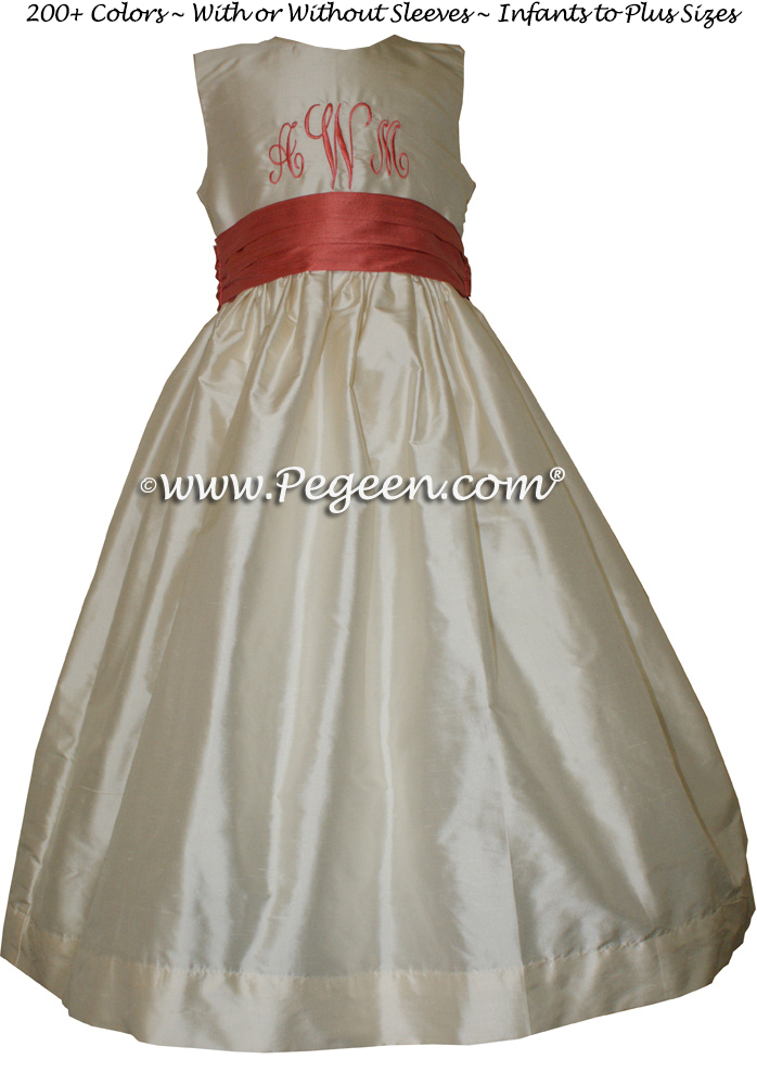 Coral and Ivory Monogrammed flower girl dresses Style 398