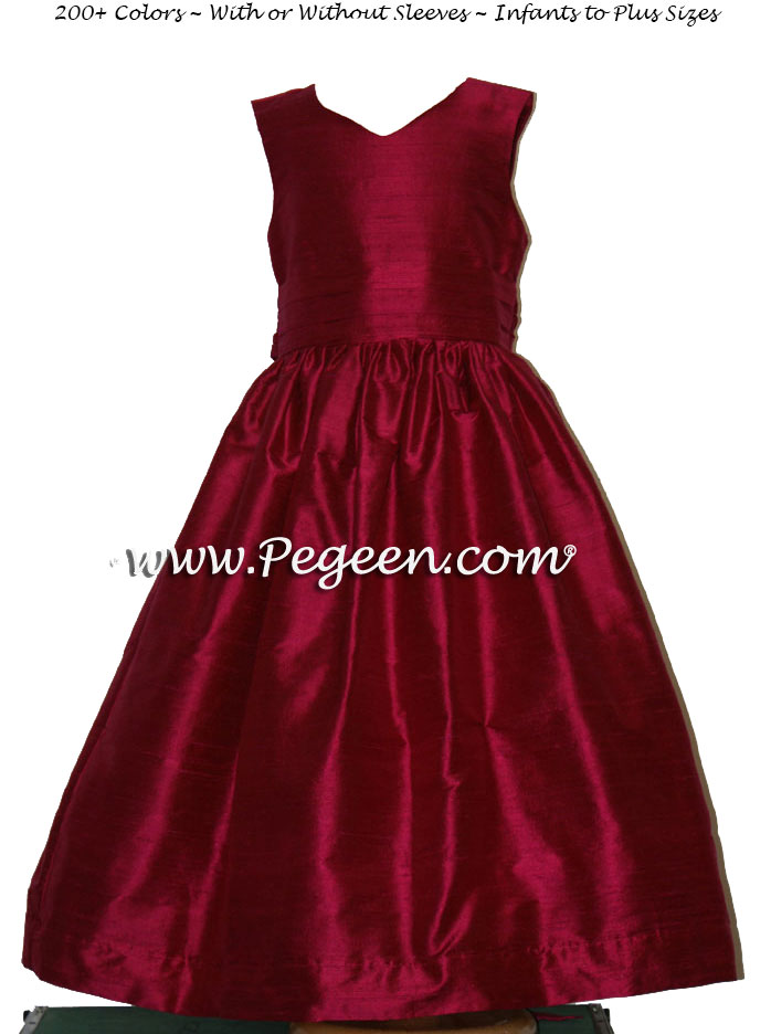 Beauty (Cabernet) silk with a v-front Flower Girl Dresses Style 318
