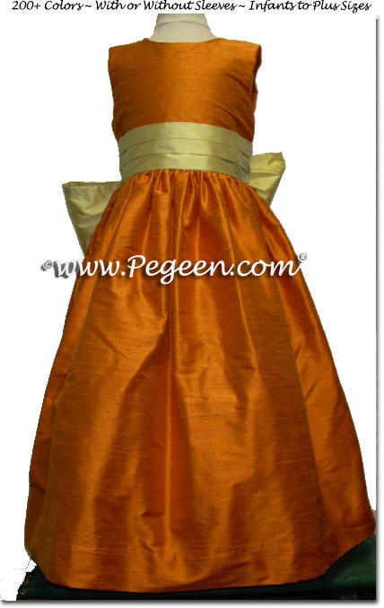 TANGERINE FLOWER GIRL DRESSES WITH SUNFLOWER SASH STYLE 398 | Pegeen