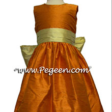Tangerine and sunflower flower girl dresses