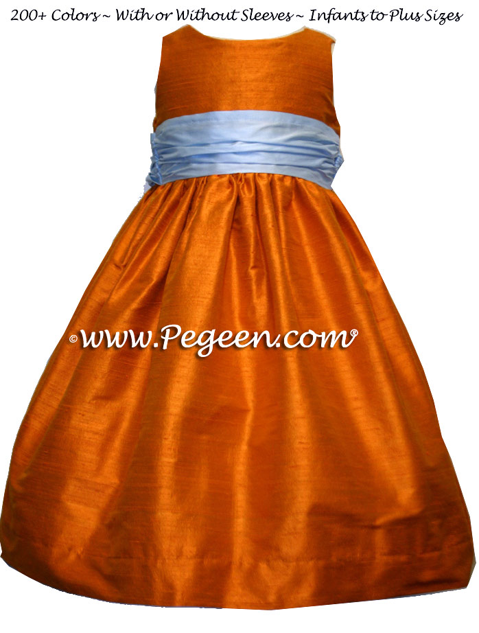 Babyblue and tangerine silk flower girl dresses