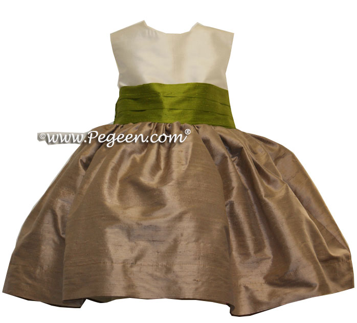 Flower Girl Dresses in Bisque, Antiqua Taupe and Grass Green Style 398 | Pegeen