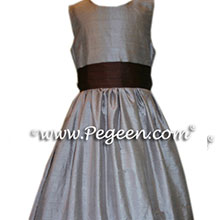TAUPE AND chocolate brown CUSTOM FLOWER GIRL DRESSES