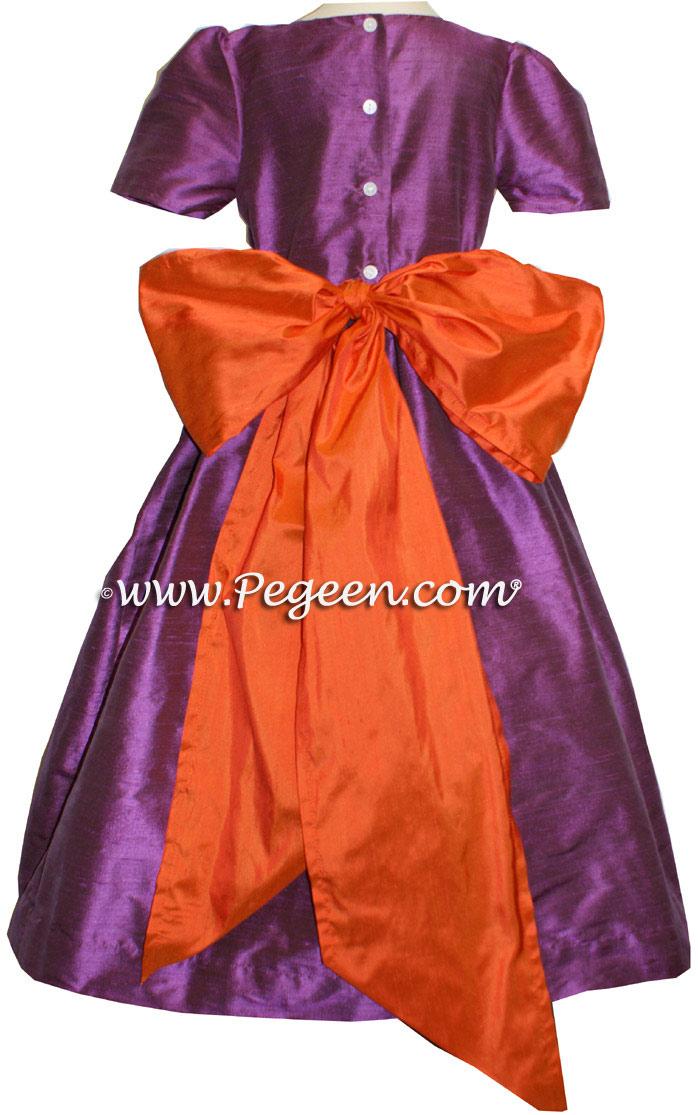 THISTLE PURPLE AND CARROT ORANGE SILK FLOWER GIRL DRESSES