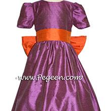 THISTLE PURPLE AND CARROT ORANGE flower girl dresses
