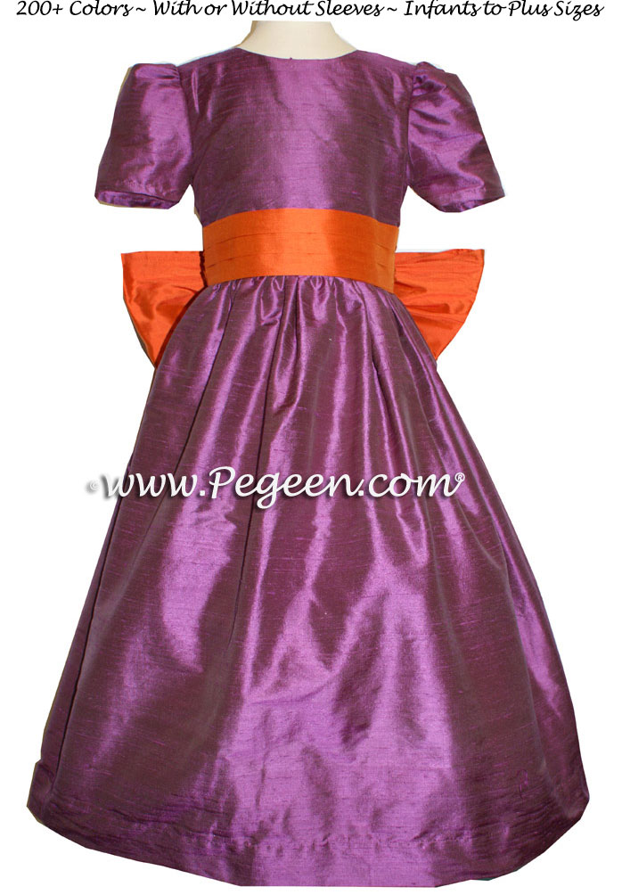 THISTLE PURPLE AND CARROT ORANGE SILK FLOWER GIRL DRESSES