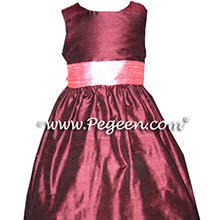 burgundy and gumdrop pink flower girl dresses