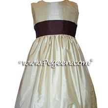 buttercreme and chocolate brown flower girl dresses