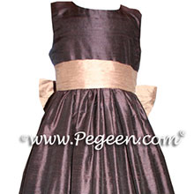 chocolate brown AND PEACH FLOWER GIRL DRESSES