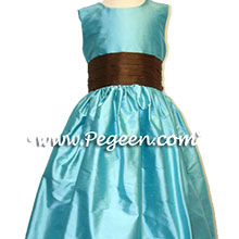 tiffany and chocolate brown junior bridesmaid dresses
