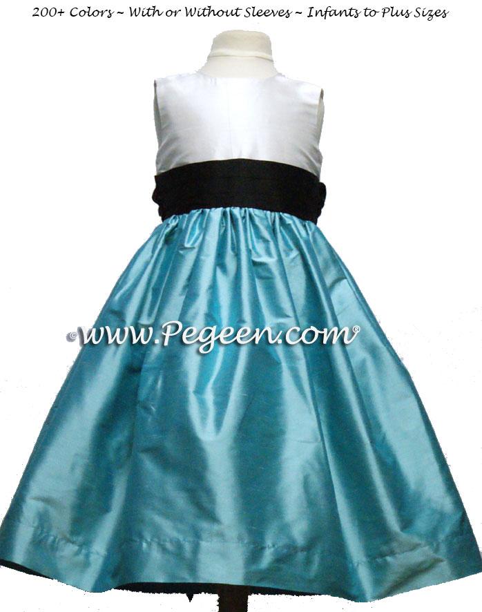 Tiffany Blue and Black Silk Custom Flower Girl Dress with Self Tie Sash | Pegeen