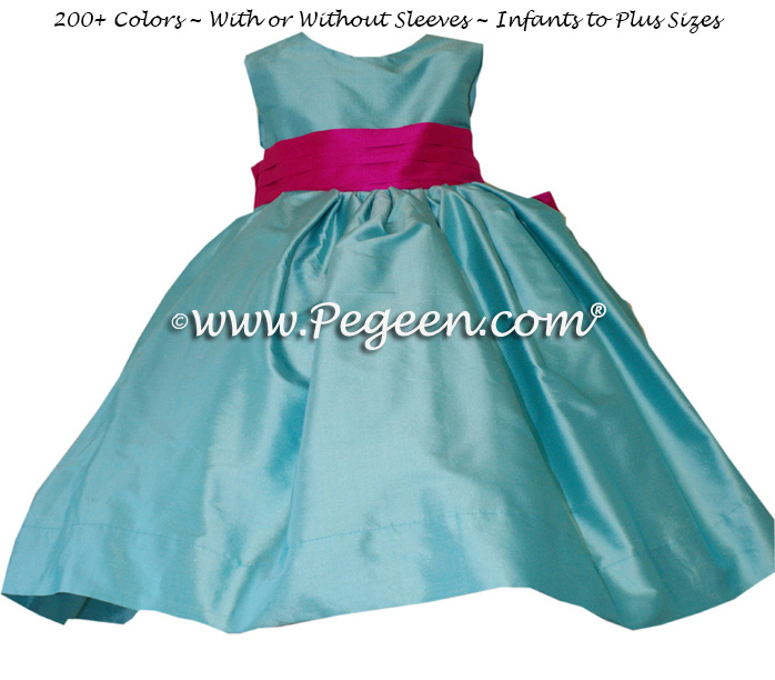 Flower Girl Dress Style 398 in Tiffany Blue and Boing Pink | Pegeen