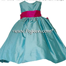TIFFANY BLUE AND BOING (HOT PINK) FLOWER GIRL DRESS Style 398 by Pegeen