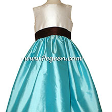 TIFFANY BLUE, CHOCOLATE BROWN and NEW IVORY FLOWER GIRL DRESS Style 398 by Pegeen