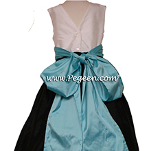 TIFFANY BLUE, BLACK and Antique White FLOWER GIRL DRESS Style 398 by Pegeen