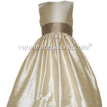 Wheat and Antigua Taupe flower girl dresses