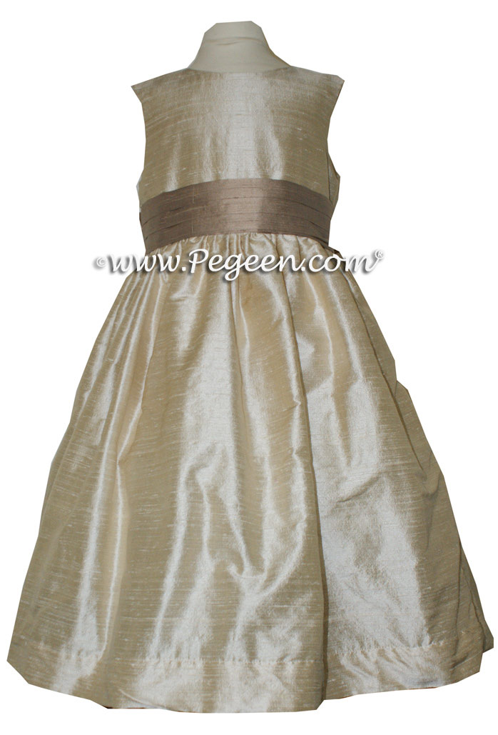 Toffee (light creme) and Antigua Taupe flower girl dresses