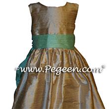 toffe and aqua FLOWER GIRL DRESSES