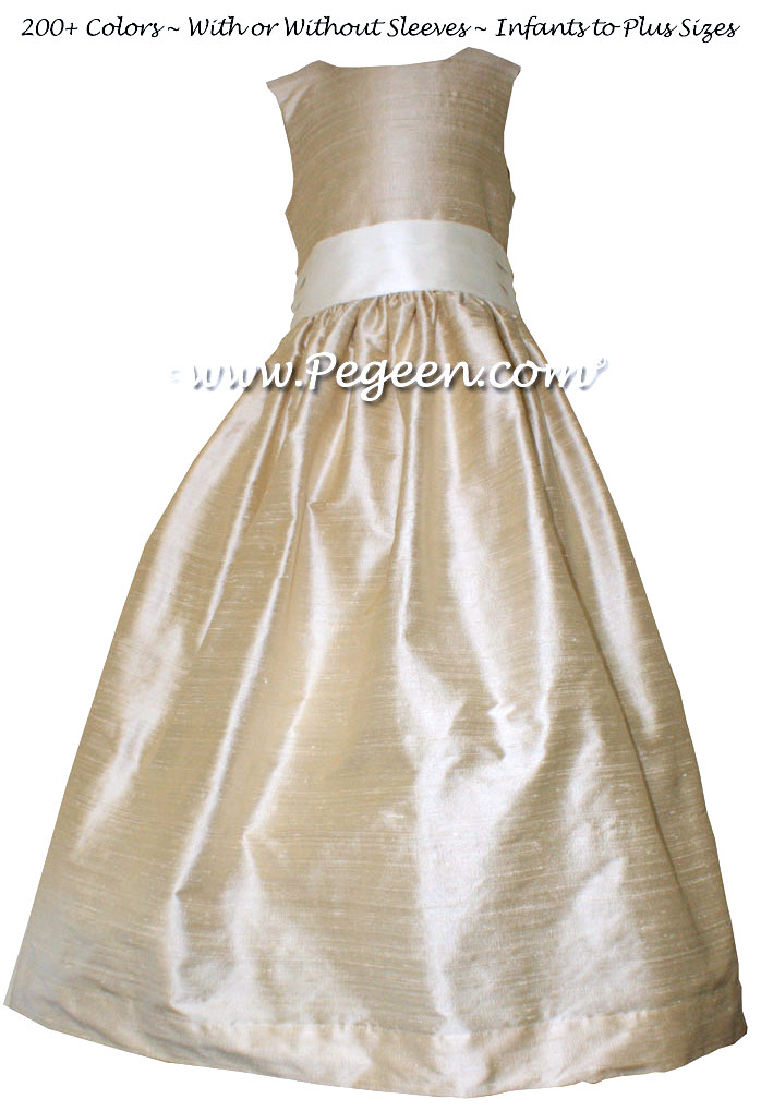 Bisque (creme) AND BISQUE FLOWER GIRL DRESS Style 398 by Pegeen