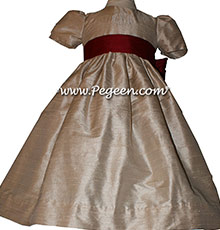 Toffee (light creme) and Cranberry Silk Flower Girl Dresses Style 398