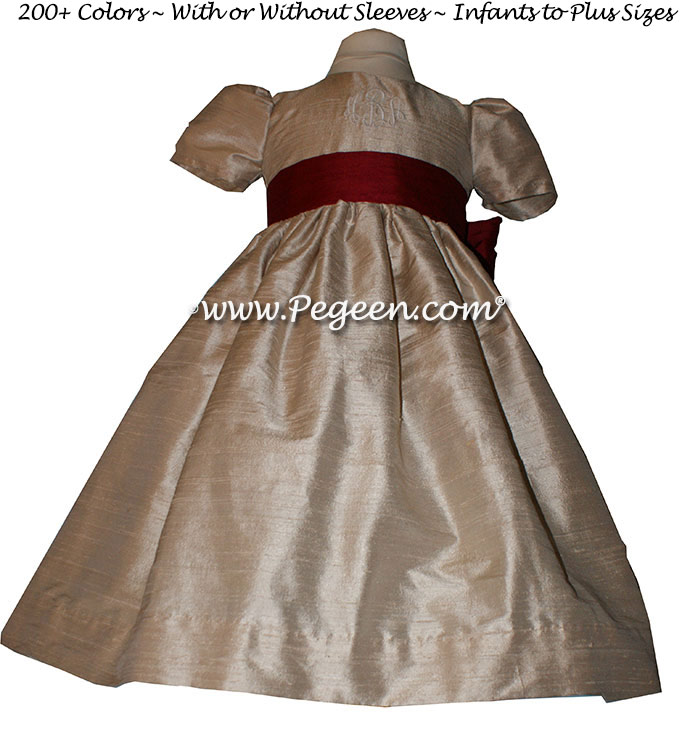 Toffee (light creme) and Cranberry flower girl dresses