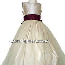 TOFFEE (DARK CREME) AND EGGPLANT tulle and silk flower girl dresses