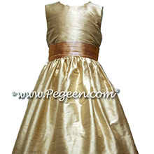 Toffee and Peach Custom Silk Flower Girl Dress Style 398