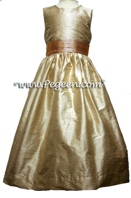 Toffee and Peach Custom Silk Flower Girl Dress Style 398 | Pegeen