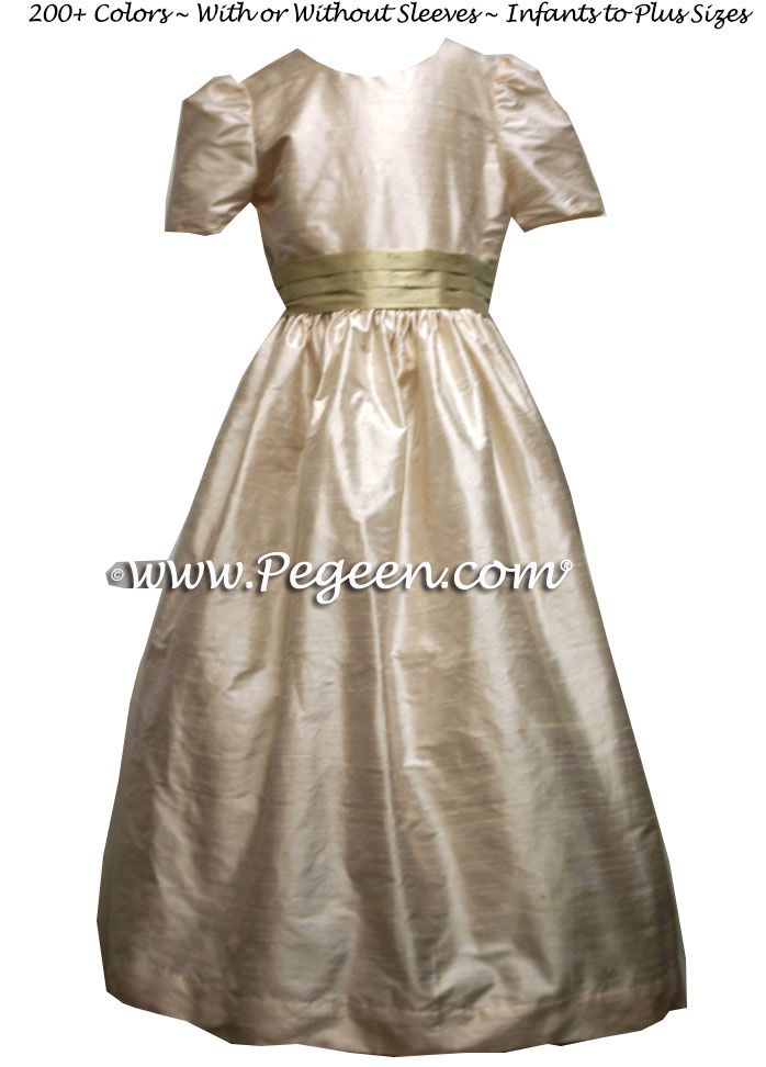 TOFFEE AND WHEAT SILK FLOWER GIRL DRESSES