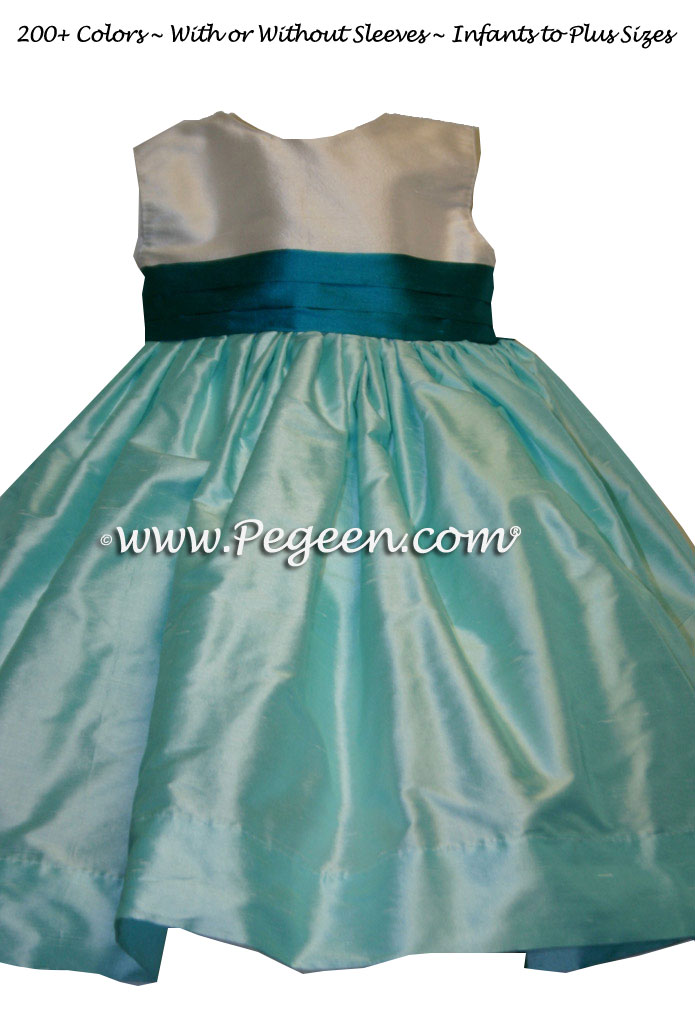 Tiffany blue and tropic silk FLOWER GIRL DRESSES by Pegeen