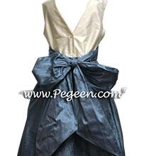 FRENCH BLUE SILK JUNIOR BRIDESMAIDS DRESSES