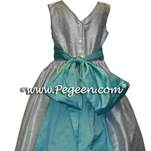 Platinum Gray and  Tiffany Blue Custom  Flower Girl Dress