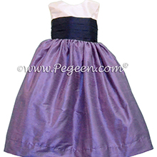 Violet and Grape Silk Flower Girl Dresses